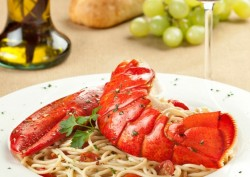 American dinner plates graced by more seafood
